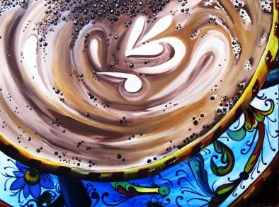 Cappuccino in a Deruta Cup