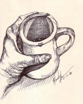 hand and coffee
